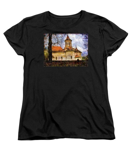 Old Church With Red Roof Women's T-Shirt (Standard Cut) by Jeff Kolker