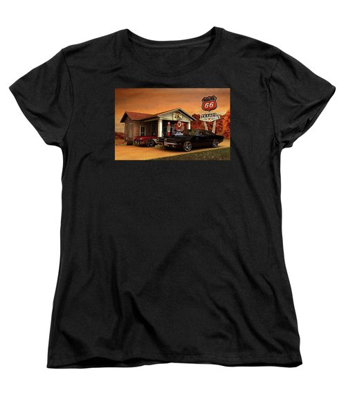 Women's T-Shirt (Standard Cut) featuring the photograph Old Gas Station American Muscle by Louis Ferreira