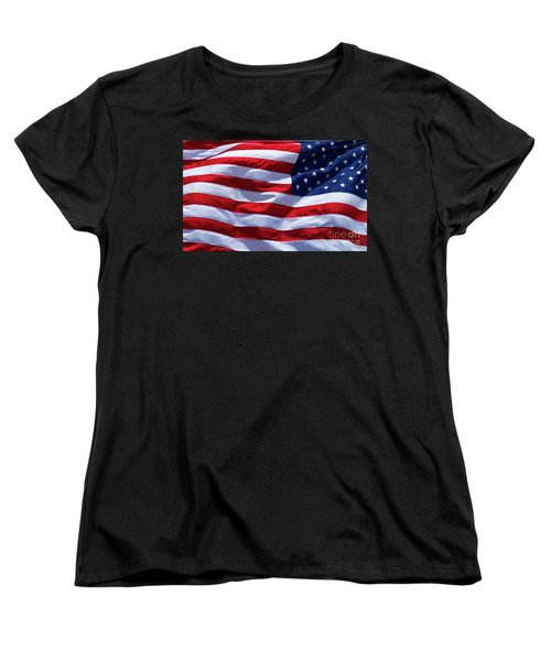 Women's T-Shirt (Standard Cut) featuring the photograph Stitches Old Glory American Flag Art by Reid Callaway