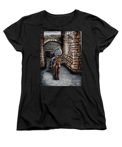 Old Man On A Donkey Women's T-Shirt (Standard Cut) by Judy Kirouac