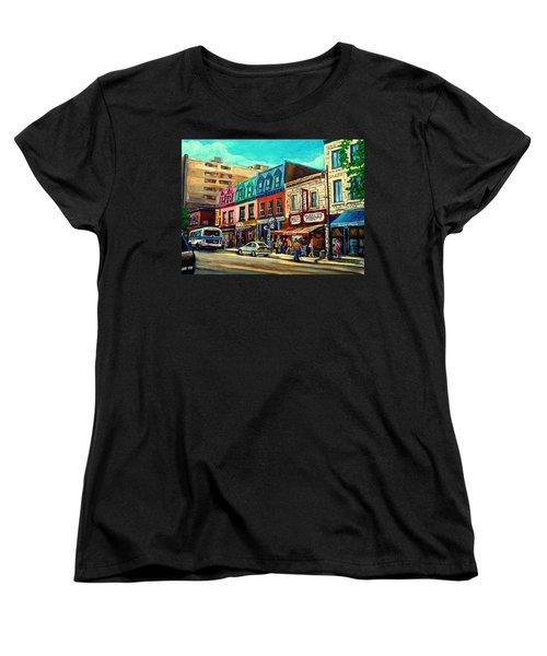 Old Montreal Schwartzs Deli Plateau Montreal City Scenes Women's T-Shirt (Standard Cut) by Carole Spandau