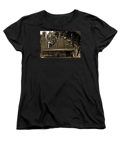 Women's T-Shirt (Standard Cut) featuring the photograph Old Spanish Sugar Mill Sepia by DigiArt Diaries by Vicky B Fuller