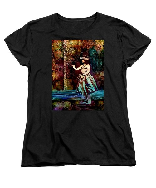 Women's T-Shirt (Standard Cut) featuring the painting Old Time Hula Dancer by Marionette Taboniar