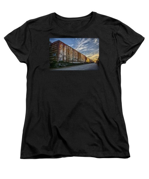 Women's T-Shirt (Standard Cut) featuring the tapestry - textile Old Train - Galveston, Tx by Kathy Adams Clark
