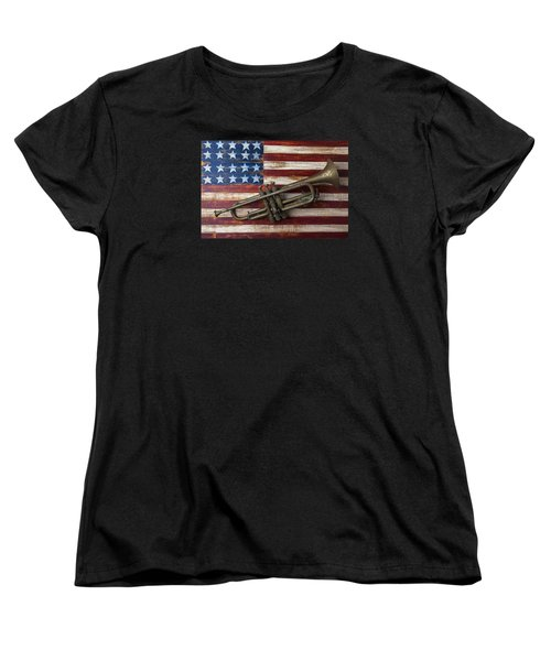 Old Trumpet On American Flag Women's T-Shirt (Standard Cut) by Garry Gay