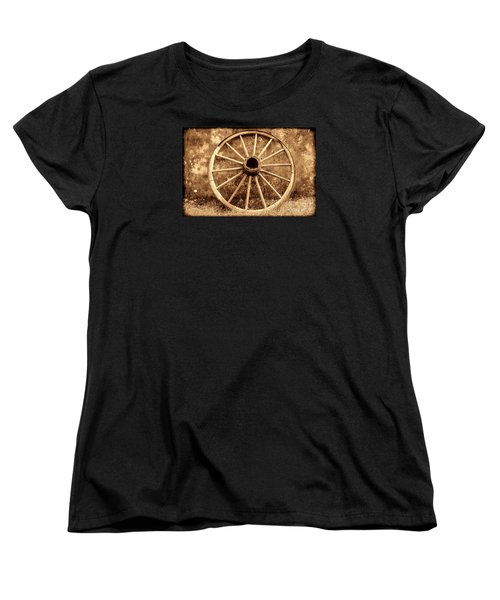 Old Wagon Wheel Women's T-Shirt (Standard Cut) by American West Legend By Olivier Le Queinec