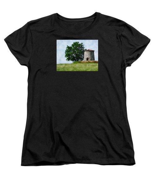 Women's T-Shirt (Standard Cut) featuring the photograph Old Windmill by Jean Bernard Roussilhe