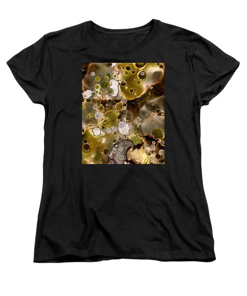 Women's T-Shirt (Standard Cut) featuring the painting Olive Metal Abstract by Patricia Lintner