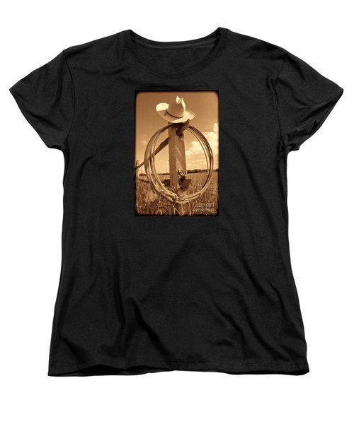 On The American Ranch Women's T-Shirt (Standard Cut) by American West Legend By Olivier Le Queinec
