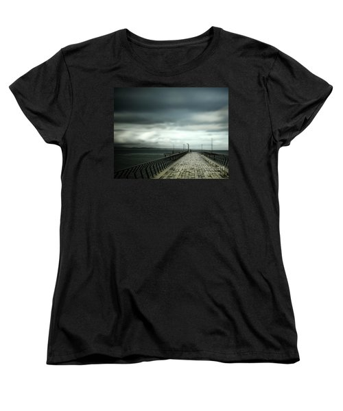 Women's T-Shirt (Standard Cut) featuring the photograph On The Pier by Perry Webster