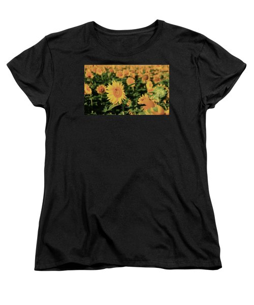 Women's T-Shirt (Standard Cut) featuring the photograph One In A Million Sunflowers by Chris Berry
