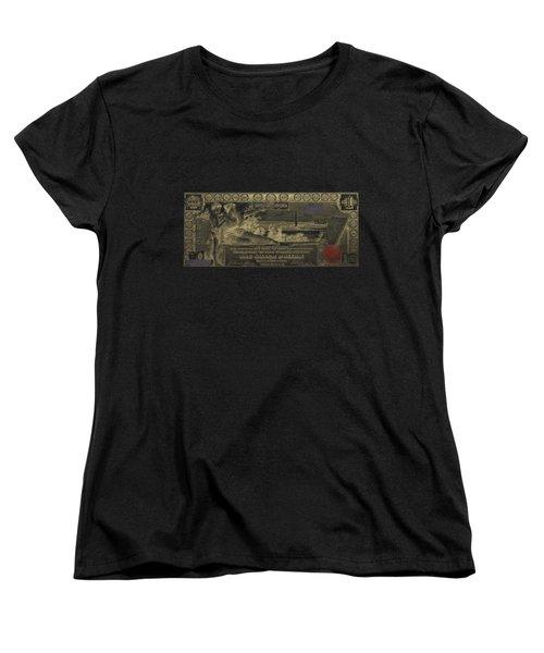 Women's T-Shirt (Standard Cut) featuring the digital art One U.s. Dollar Bill - 1896 Educational Series In Gold On Black  by Serge Averbukh
