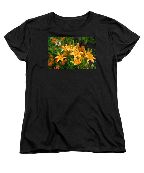 Women's T-Shirt (Standard Cut) featuring the photograph Orange Asiatic Lilies And Butterfly Weed by Kathryn Meyer