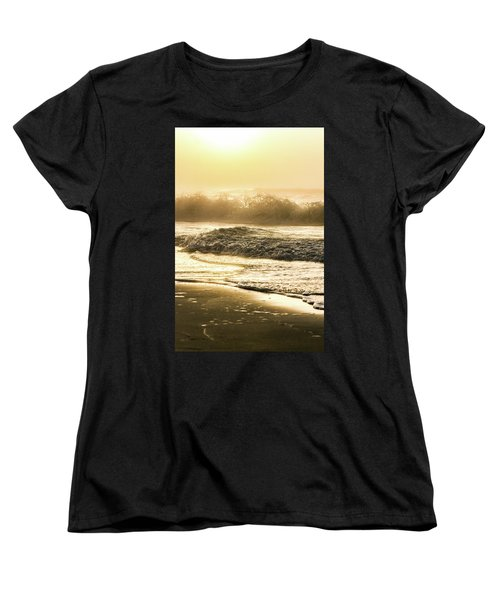 Women's T-Shirt (Standard Cut) featuring the photograph Orange Beach Sunrise With Wave by John McGraw