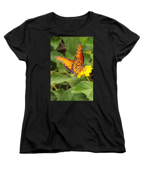 Orange Butterfly Women's T-Shirt (Standard Cut) by Judi Saunders