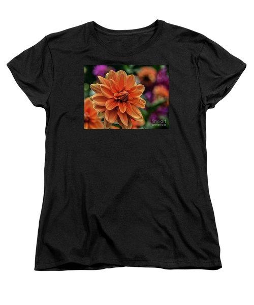 Orange Dahlias Women's T-Shirt (Standard Cut) by Shirley Mangini