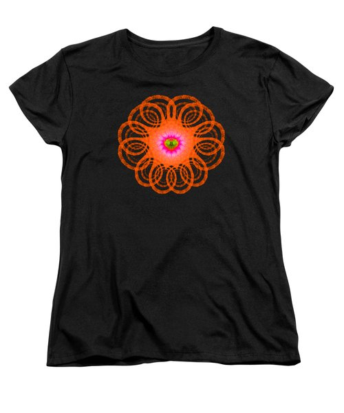 Orange Fractal Art Mandala Style Women's T-Shirt (Standard Cut) by Matthias Hauser