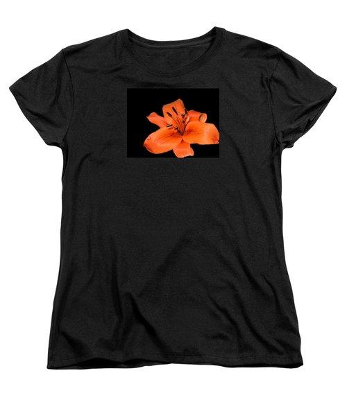 Orange Orchid On Black Women's T-Shirt (Standard Cut) by Karen Nicholson