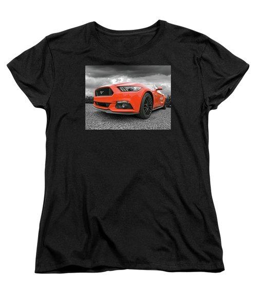 Orange Storm - Mustang Gt Women's T-Shirt (Standard Cut) by Gill Billington