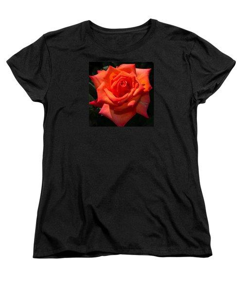 Orange Tropicana Rose  Women's T-Shirt (Standard Cut) by Michael Moriarty