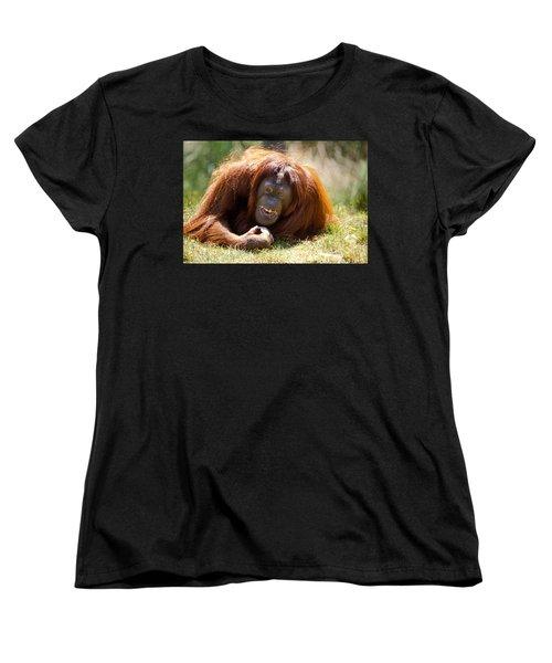 Orangutan In The Grass Women's T-Shirt (Standard Cut) by Garry Gay