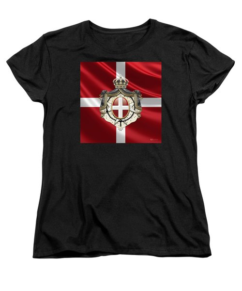 Order Of Malta Coat Of Arms Over Flag Women's T-Shirt (Standard Cut) by Serge Averbukh