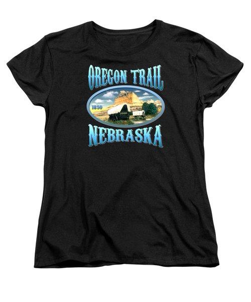 Oregon Trail Nebraska - Tshirt Design Women's T-Shirt (Standard Cut) by Art America Gallery Peter Potter