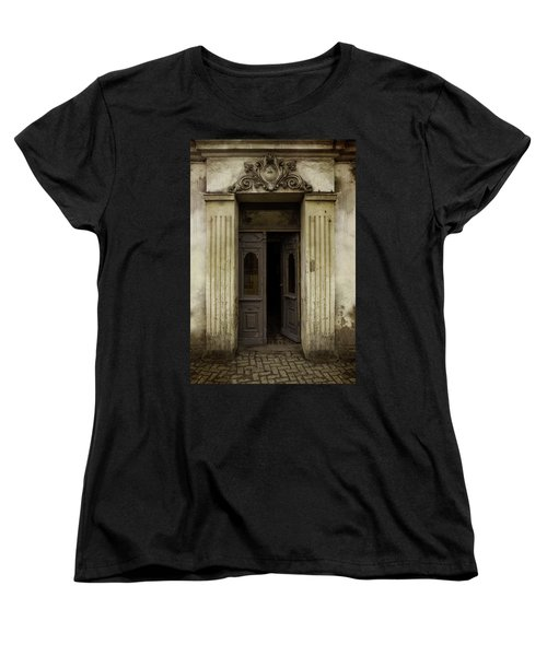 Ornamented Gate In Dark Brown Color Women's T-Shirt (Standard Cut) by Jaroslaw Blaminsky