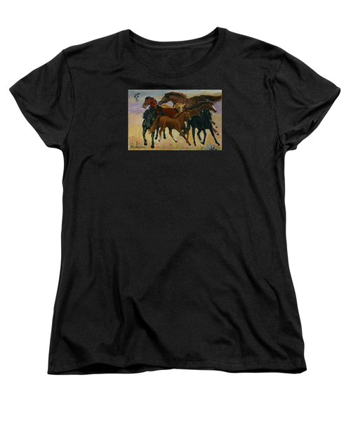 Women's T-Shirt (Standard Cut) featuring the painting Our Horses by Dawn Senior-Trask