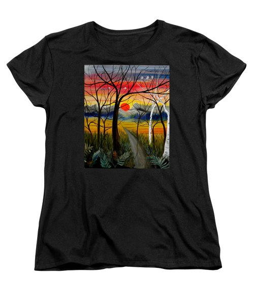 Women's T-Shirt (Standard Cut) featuring the painting Out Of The Woods by Renate Nadi Wesley