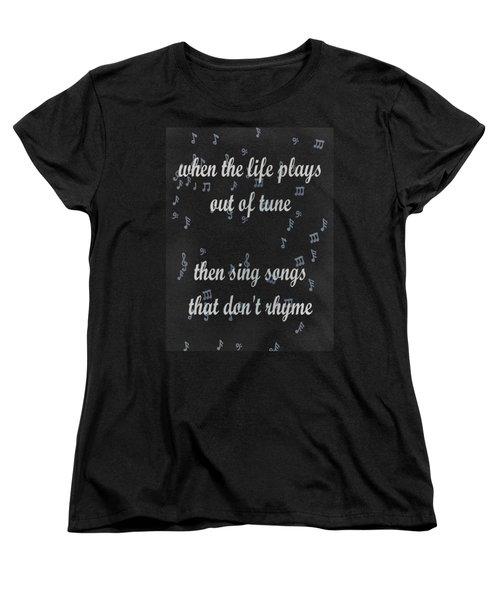 Out Of Tune Black Women's T-Shirt (Standard Cut) by Keshava Shukla