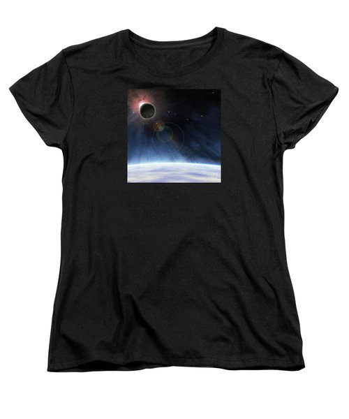 Women's T-Shirt (Standard Cut) featuring the digital art Outer Atmosphere Of Planet Earth by Phil Perkins