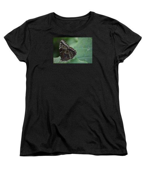 Owl Butterfly Women's T-Shirt (Standard Cut) by Linda Geiger