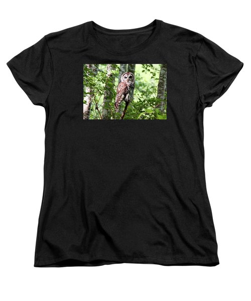 Owl In The Forest Women's T-Shirt (Standard Cut) by Peggy Collins