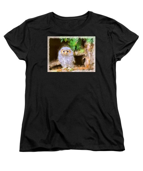 Women's T-Shirt (Standard Cut) featuring the digital art Owlet-baby Owl by Maciek Froncisz