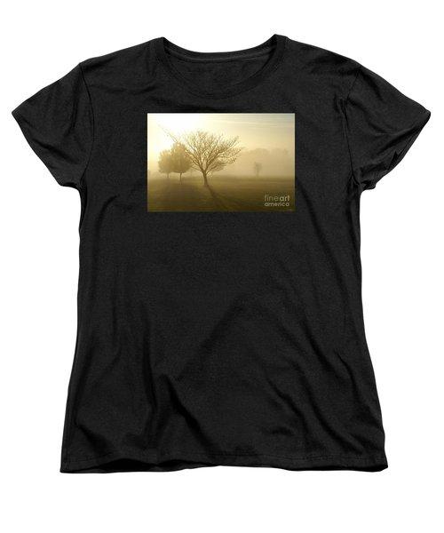 Ozarks Misty Golden Morning Sunrise Women's T-Shirt (Standard Cut) by Jennifer White