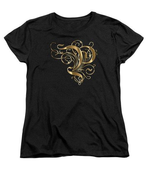 P Golden Ornamental Letter Typography Women's T-Shirt (Standard Cut) by Georgeta Blanaru