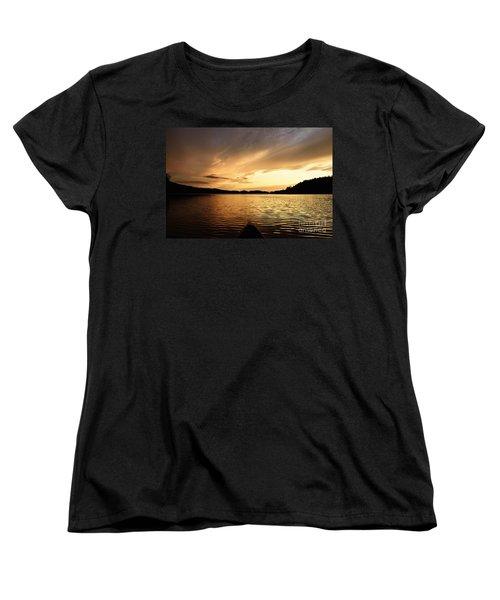 Women's T-Shirt (Standard Cut) featuring the photograph Paddling At Sunset On Kekekabic Lake by Larry Ricker
