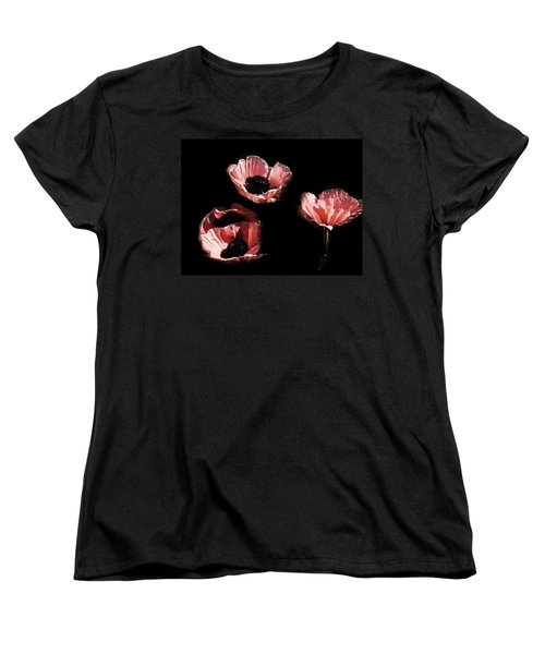 Painted Peach Poppies Women's T-Shirt (Standard Cut) by Tina M Wenger