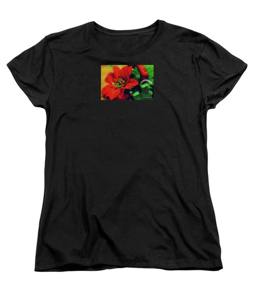 Women's T-Shirt (Standard Cut) featuring the photograph Painted Poinsettia by Sandy Moulder