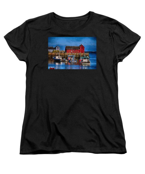 Painterly Motif #1 Rockport Women's T-Shirt (Standard Cut) by Tricia Marchlik