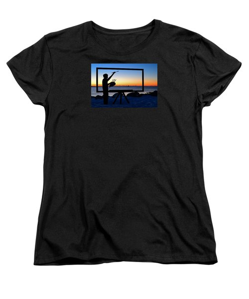 Painting The Perfect Sunrise Women's T-Shirt (Standard Cut) by James Kirkikis