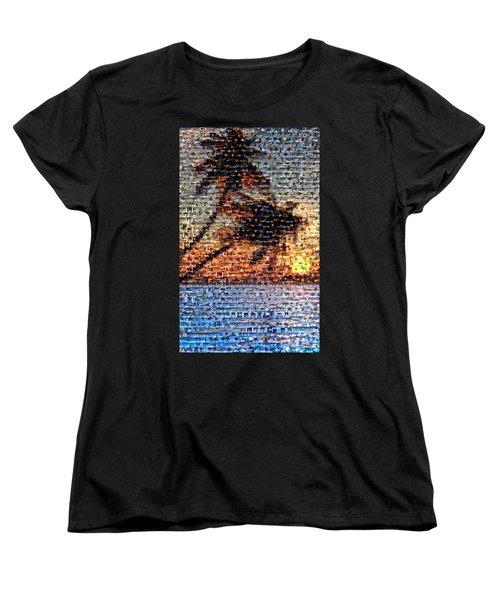 Women's T-Shirt (Standard Cut) featuring the mixed media Palm Tree Mosaic by Paul Van Scott
