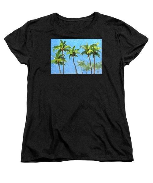 Women's T-Shirt (Standard Cut) featuring the painting Palm Tree Plein Air Painting by Karen Whitworth
