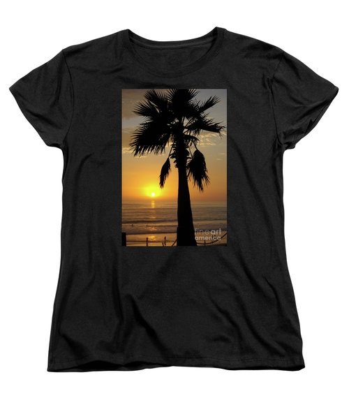 Palm Tree Sunset Women's T-Shirt (Standard Cut) by Jim and Emily Bush