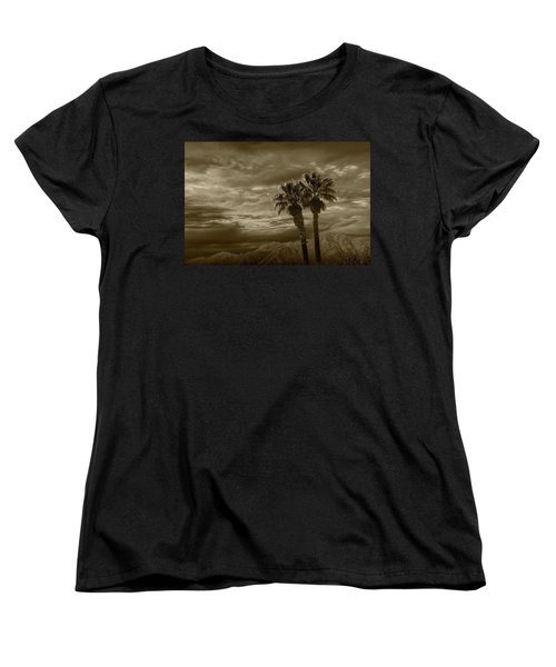 Women's T-Shirt (Standard Cut) featuring the photograph Palm Trees By Borrego Springs In Sepia Tone by Randall Nyhof