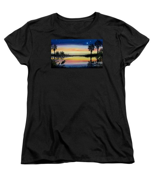 Palmetto Tree And Moon Low Country Sunset Women's T-Shirt (Standard Cut) by Patricia L Davidson