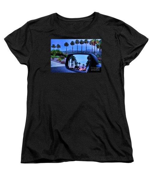 Palms Sunset Reflection Women's T-Shirt (Standard Cut) by Sharon Soberon