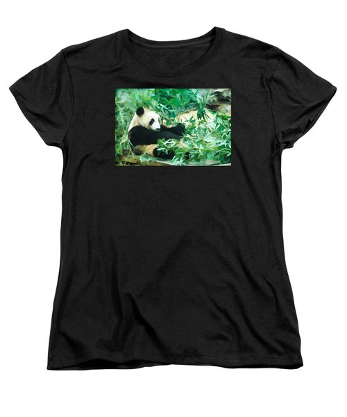 Women's T-Shirt (Standard Cut) featuring the painting Panda 1 by Lanjee Chee