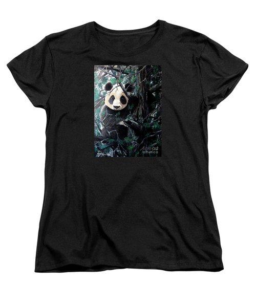 Panda In Tree Women's T-Shirt (Standard Cut)